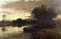 river landscape at dusk with figures in a punt and cattle watering at the riverside by william manners
