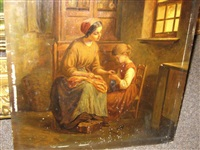 interior with mother and child knitting by paul seignac