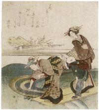 zwei frauen und ein junge auf einem holzsteg, dahinter häuser unf blühende pflaumenbäume by hokkei