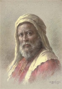 portrait of a bearded man in eastern dress by e. migliaccio
