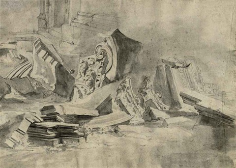 classical columns capitals and architraves study another 2 works by jan asselijn