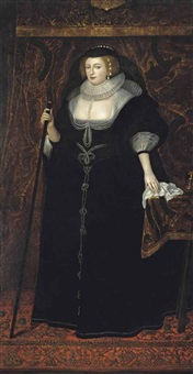 portrait of frances stewart, duchess of richmond and lennox (1578 -1639), full-length, in a black dress decorated with pearls, pearls in her hair, a napkin in her left hand, a baton in right hand by sir anthony van dyck