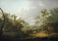 travellers with a cart and horse on a country lane, with ruins beyond by john rathbone