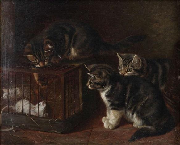 trois petits chats près de souris dans une cage by henriette ronner knip