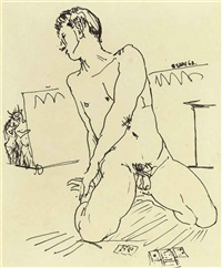 kneeling nude playing cards (+ 2 studies; 3 works) by peter samuelson