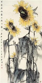 向日葵 立轴 设色纸本 by liu wensheng