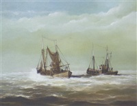 fishing trawlers in close quarters at sea by peter carter