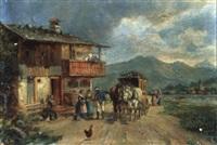 ankunft der postkutsche by ludwig cornelius-muller