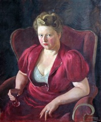 portrait of a seated lady holding a glass of wine by james bateman