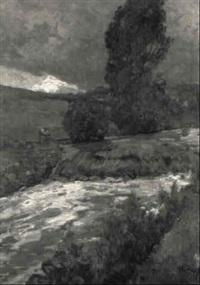abendliche flußlandschaft bei windesheim by hugo zieger