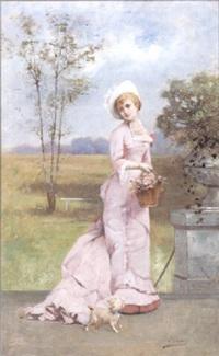 dame op een terras by louis charles verwee