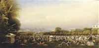 the parade ground, by murray barracks, hong kong, with horses paraded along queen's road by charles w. andrews