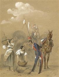 russische ulanen mit zwei mägden by josef iosefovich charlemagne