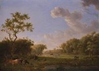 landschaft mit jagdreitern und einem jungen kuhhirten by johannes (jan) tavenraat
