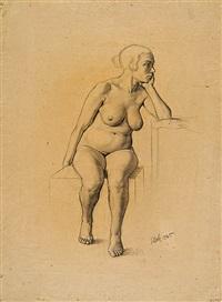 sitzender weiblicher akt mit aufgestütztem arm by georg scholz