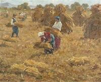 bauern bei der getreideernte by ferensz gaal