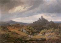 landschaft mit burgruine und reiter über der küste (schottland) by rudolf alers