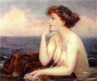coastal landscape with female nude by joseph w. gies