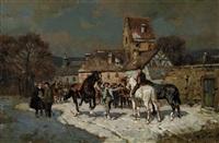 pferdemarkt am stadtrand im winter by wilhelm velten