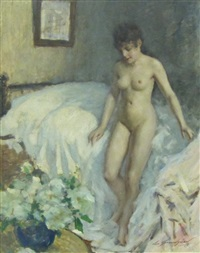a female nude standing by a bed by lucien henri grandgerard