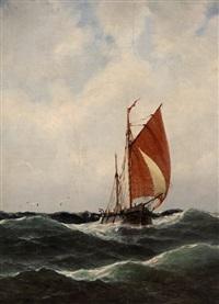 fischerboot auf bewegter see by heinrich leitner
