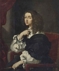 portrait of christina, queen of sweden (1626-1689), half-length, seated, in a black and white dress, before a draped curtain in an interior by sébastien bourdon