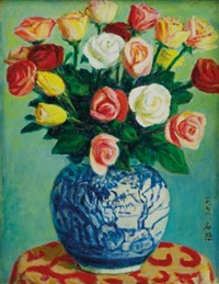 flowers in a blue vase by li shiqiao