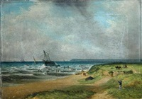 figures in an onshore breeze (+ salvaging a wreck in choppy seas one; pair) by s. s. david