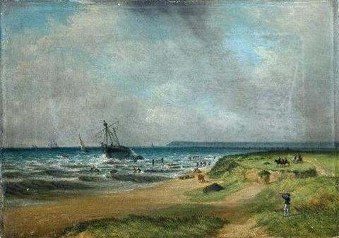 figures in an onshore breeze salvaging a wreck in choppy seas one pair by s s david