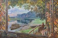 abendstimmung in der gastwirtschaft rosengarten bei rathen (sächsische schweiz) by heinrich max vogel