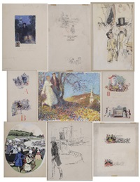 john constable goes sketching; at the races...three...illustrations, stagecoaches, at the circus, charleston, s.c.; a young couple on a hillside (9 works) by john wolcott adams