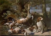 ein jagdstillleben mit erlegtem niederwild und zwei hunden by david de koninck