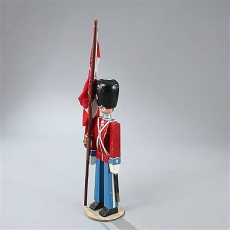royal guards figure with danish flag by kay bojesen