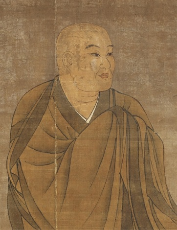 a hanging scroll with a portrait of ichigyû muromachi period or later