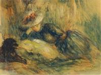 eine lesende junge dame mit hund by abel faivre