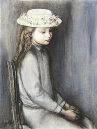fillette assise au chapeau fleurie by paul smolders