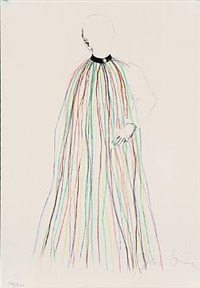dorian gray in multi-colored vinyl strip cape (from the picture of dorian gray) by jim dine