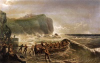 near east hartlepool, life boat launch in rough seas with figures watching by edward priestley