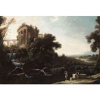a river landscape with figures resting beneath a capriccio view of the temple of vesta at tivoli by pierre patel