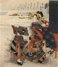 oiran und kamuro bei einem spaziergang zu neujahr by hokkei