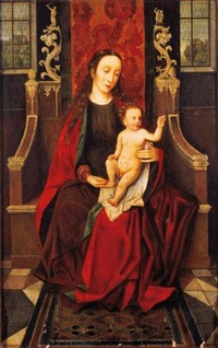 the virgin and child enthroned by hans memling