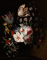 blumenbukett in einer glasvase by nicolaes van veerendael