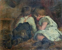two young children playing in a barn by helen mable trevor