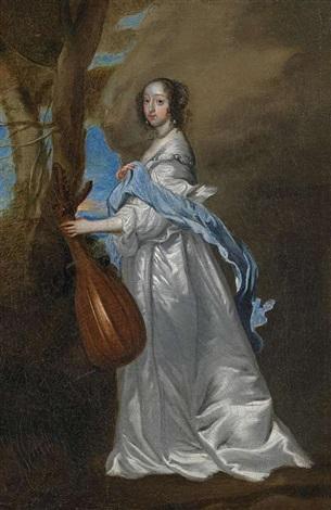 porträt der lady isabella rich mit laute by sir anthony van dyck