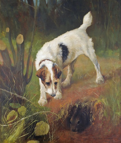 jack russell at a rabbit hole by arthur wardle