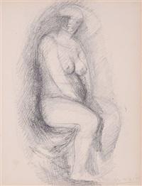 ohne titel (figura seduta) (sitzender weiblicher akt) by marino marini