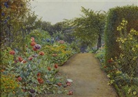 the garden at blair with oriental poppies by ernest arthur rowe