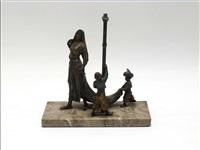 groupe, formant pied de lampe, figurant une jeune danseuse orientale accompagnée de deux pages by nam greb