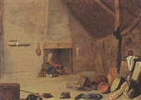 a barn interior with a kitchen still life and a woman cooking on a fire in the background by philips angel