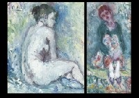nude in blue interior (+ 2 others, various sizes; 3 works) by shinzo abe